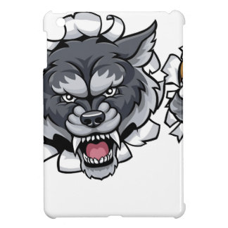 Mascota del fútbol americano del lobo que rompe el