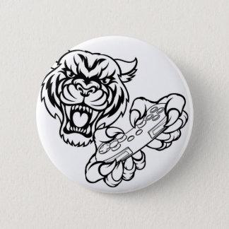 Mascota del videojugador del tigre chapa redonda de 5 cm