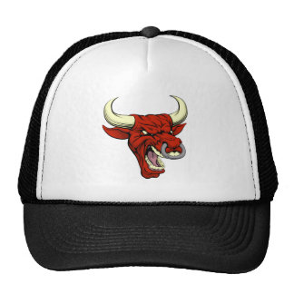 Mascota roja del toro gorra