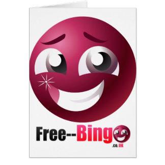 Mascota y logotipo libres del bingo tarjeta de felicitación