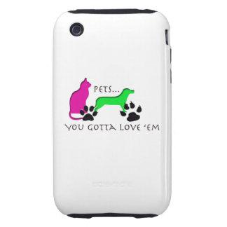 Mascotas en su caso iPhone 3 tough protectores