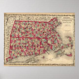 Massachusetts, Connecticut, y Rhode Island Póster