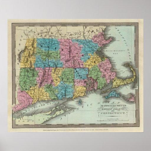 Massachusetts Rhode Island y Connecticut Posters