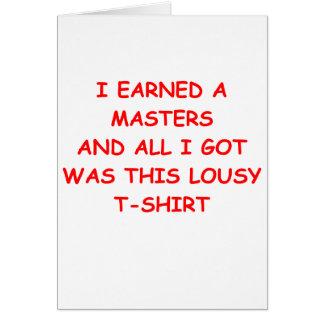 masters tarjeta de felicitación