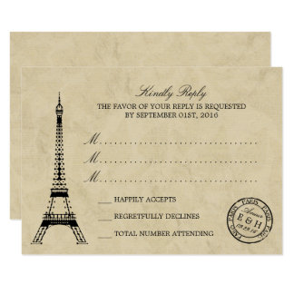 Matasellos de París de la torre Eiffel del vintage Invitación 8,9 X 12,7 Cm