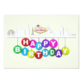 """Mate 5"""" del cumpleaños de Las Vegas x 7"""", Invitación 12,7 X 17,8 Cm"""