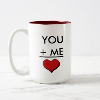 Matemáticas del amor del friki taza de café de dos colores