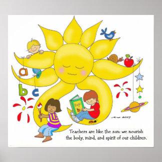 Materia de los niños - cuidado de los profesores d póster