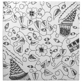 Materia textil indonesia florida abstracta servilleta de tela