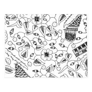 Materia textil indonesia florida con los pájaros postal