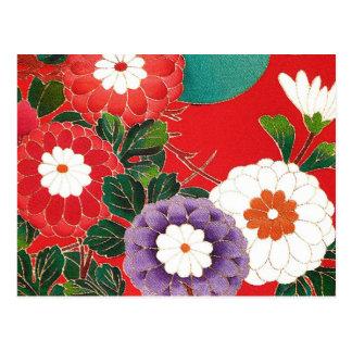 Materia textil japonesa del vintage - dalias rojas postal