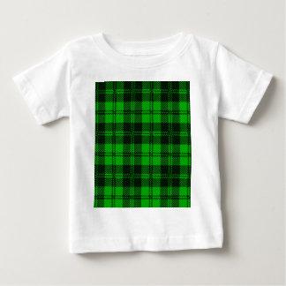 Material verde de las lanas del tartán camiseta de bebé