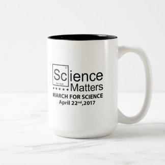 Materias de la ciencia taza bicolor