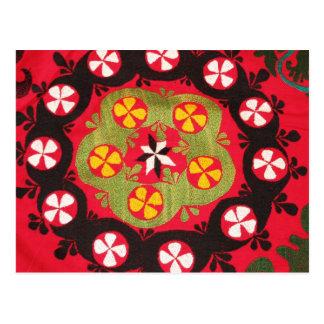 Materias textiles turcas tribales antiguas de postal