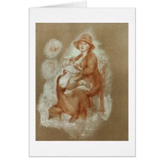 Maternidad, 1885-6 (tiza roja en el papel) tarjeta