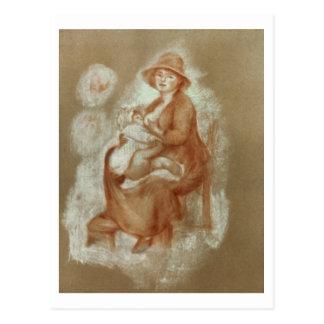 Maternidad, 1885-6 (tiza roja en el papel) postal