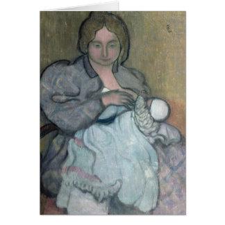 Maternidad con un vestido blanco tarjeta de felicitación