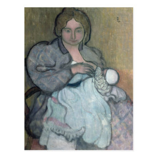 Maternidad con un vestido blanco postal