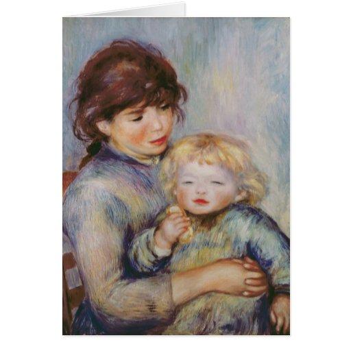 Maternidad, o niño con una galleta, 1887 felicitación