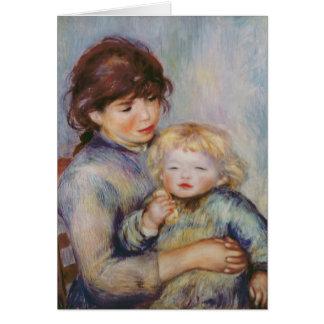 Maternidad, o niño con una galleta, 1887 tarjeta de felicitación