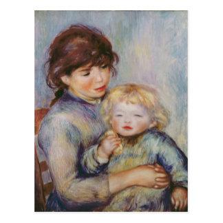 Maternidad, o niño con una galleta, 1887 postal