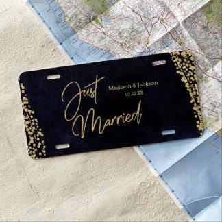 Matrícula Acuarela y oro de los azules marinos que se casan