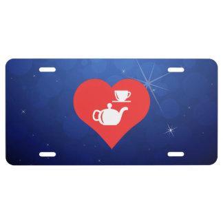 Matrícula Amo el icono fresco de los juegos de té