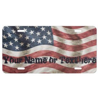 Matrícula Bandera americana del vintage de encargo