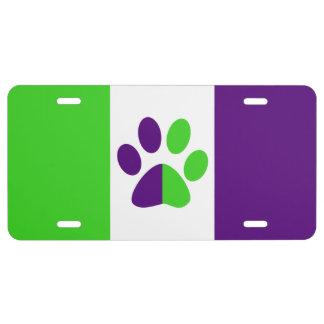 Matrícula Color-Bloque [púrpura y verde] de las rayas