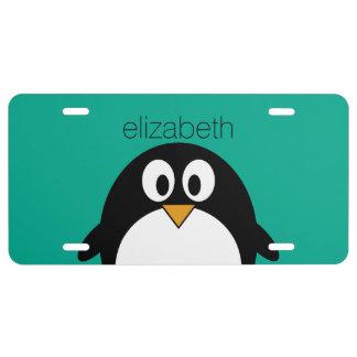 Matrícula esmeralda linda y negro del pingüino del dibujo