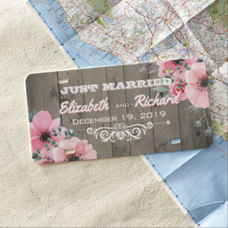 Matrícula Flores de madera rústicas casadas del boda del