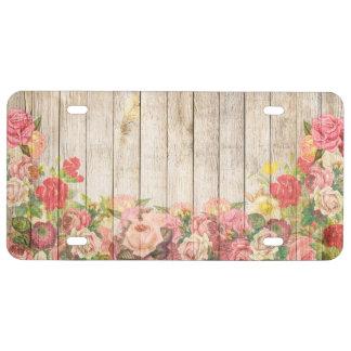 Matrícula Rosas románticos rústicos del vintage de madera