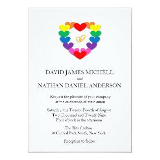 Matrimonio homosexual de los anillos de bodas del invitación 12,7 x 17,8 cm