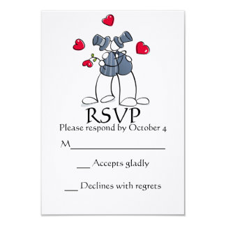 Matrimonio homosexual feliz RSVP de los novios del Invitación 8,9 X 12,7 Cm