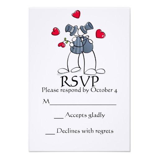 Matrimonio homosexual feliz RSVP de los novios del Anuncios