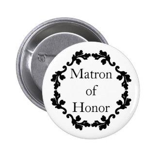 Matrona blanco y negro elegante del boda del honor chapa redonda 5 cm