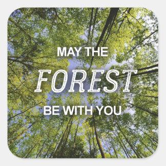 Mayo el bosque sea con usted hoja de los pegatinas pegatina cuadrada