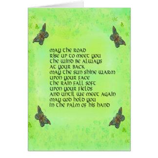 Mayo el camino se alza para encontrarle - poema tarjeta pequeña