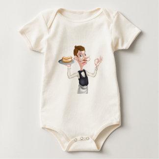 Mayordomo perfecto del perrito caliente del dibujo body para bebé