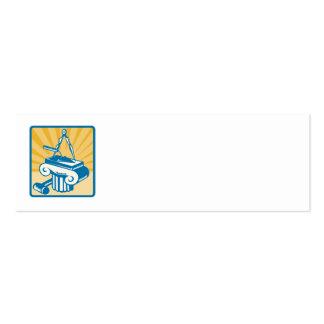 Mazo y columna del compás de la paleta de la albañ plantilla de tarjeta de visita
