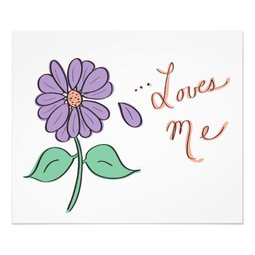 Me ama pétalo de la flor impresion fotografica