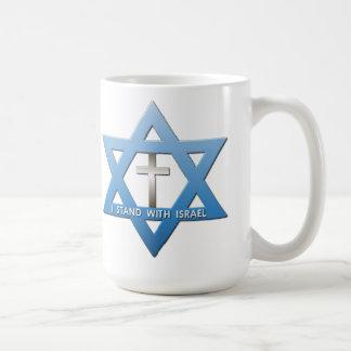 Me coloco con la estrella cruzada cristiana de taza de café