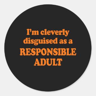 Me disfrazan listo como adulto responsable - Co Pegatina Redonda