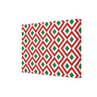 Meandro rojo, blanco, verde impresiones en lona estiradas