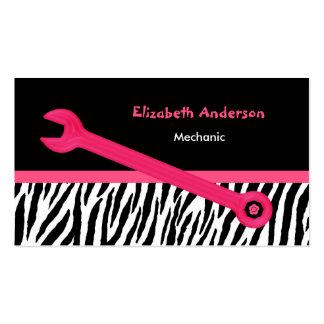 Mecánico automotriz femenino de la cebra rosada y tarjetas de visita