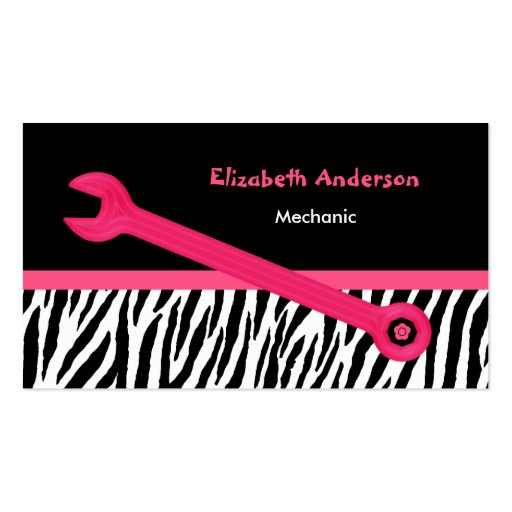 Mecánico automotriz femenino de la cebra rosada y  tarjetas de negocios