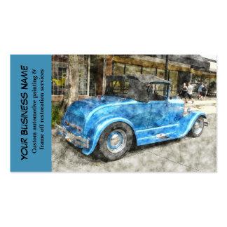 Mecánico de automóvil clásico azul automotriz del tarjetas de visita