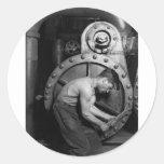 Mecánico de la bomba de vapor de Steampunk Etiquetas Redondas
