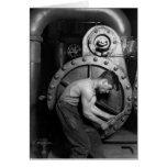 Mecánico de la bomba de vapor de Steampunk Tarjeton