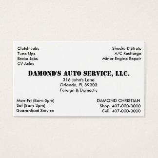 Mecánico de la reparación auto tarjeta de visita